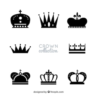 Silhouettes of royalty crowns