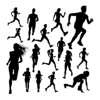 Silhouettes of runner