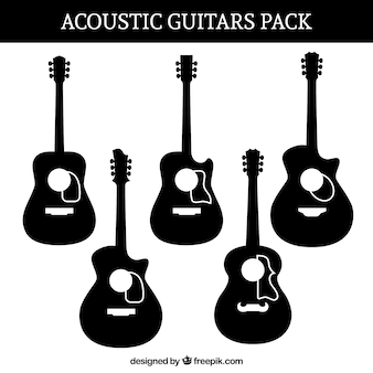 Silhouettes set of acoustic guitars