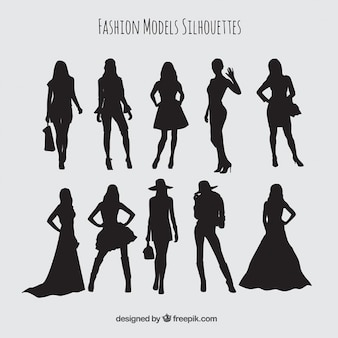 Silhouettes set of models wearing stylish clothes