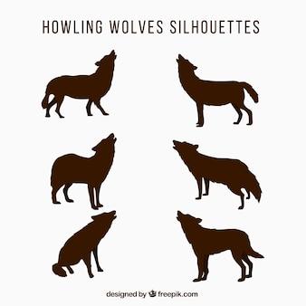 ハウリングのオオカミのシルエットセット