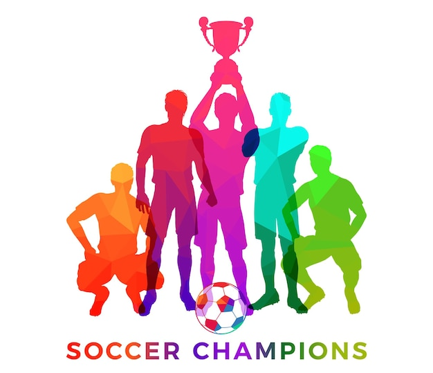 Silhouettes of soccer players with ball. team soccer champions in decoration triangle mosaic pattern. football players posing with trophy cup. isolated vector illustration