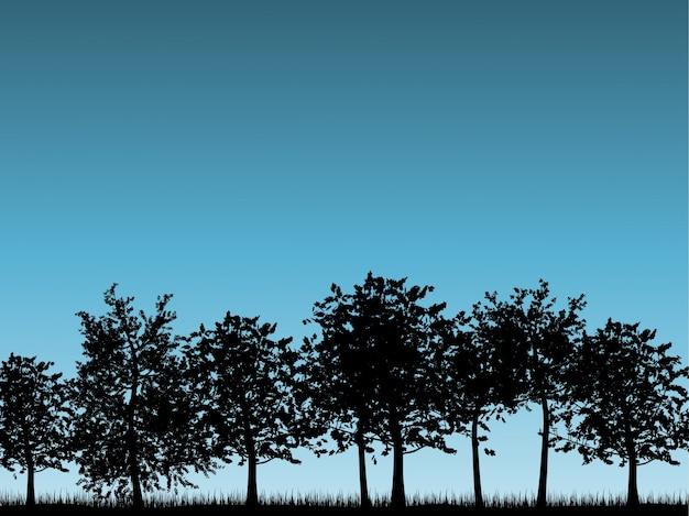 Sagome di paesaggi dell'albero