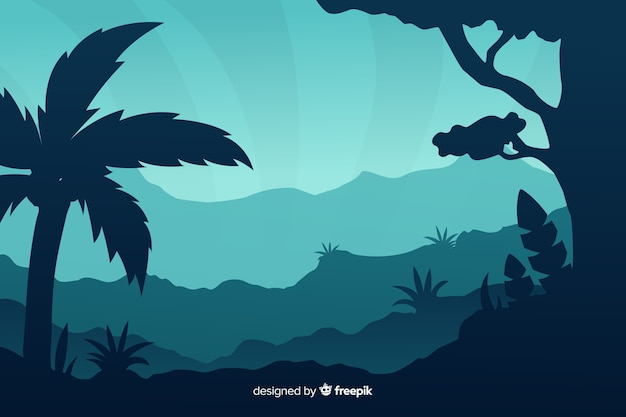 Silhouettes of tropical forest trees