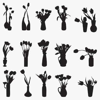 Силуэты тюльпан ваза векторный дизайн