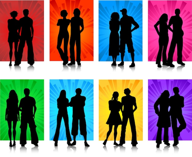 Silhouettes of various couples