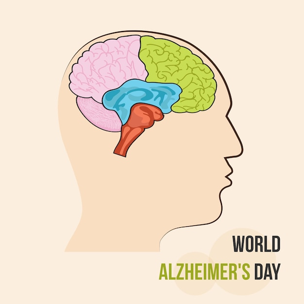 Silhouettes with brain vector illustration of world alzheimers day