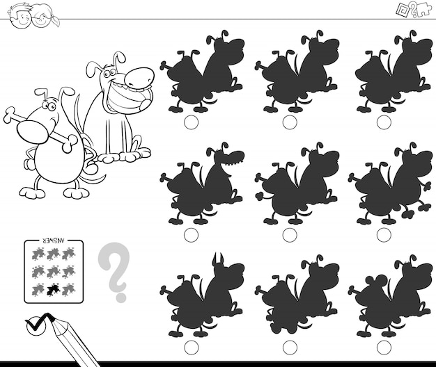 Silhouettes with funny dogs coloring book