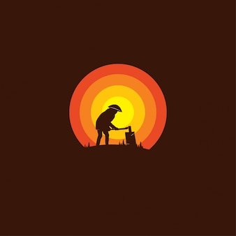 Silhouettes wooden ax man