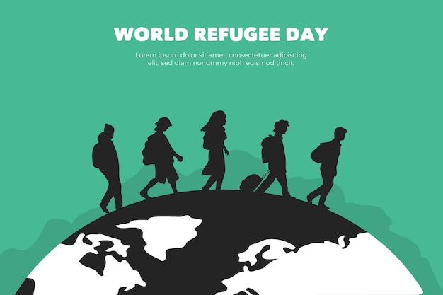 シルエット世界難民の日