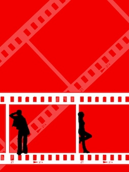 Silhouettes of young people on film strip background