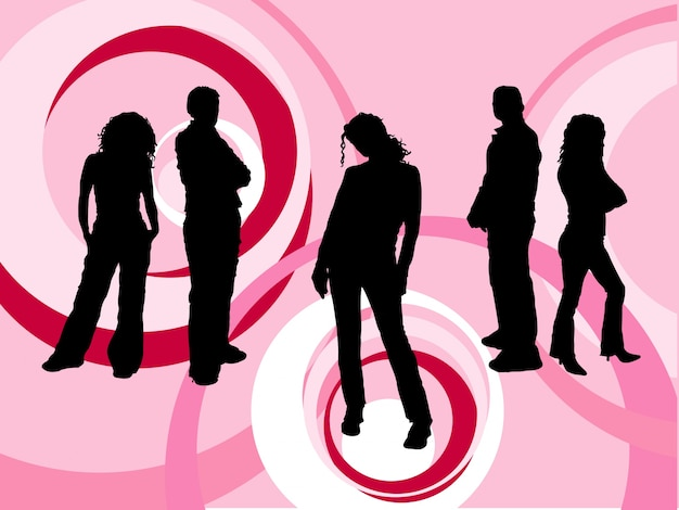 Silhouettes of young people on retro background