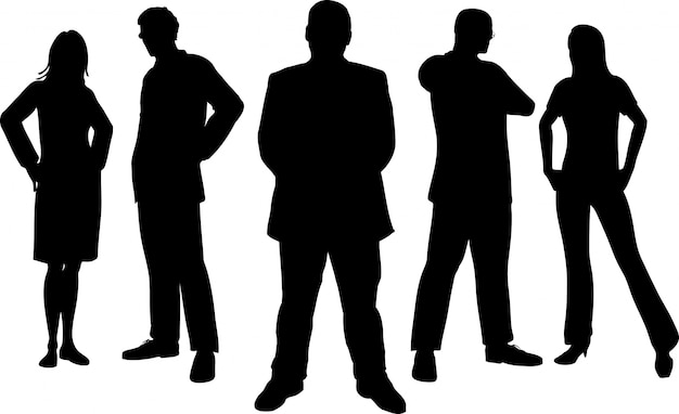 Silhouettes of young professional people