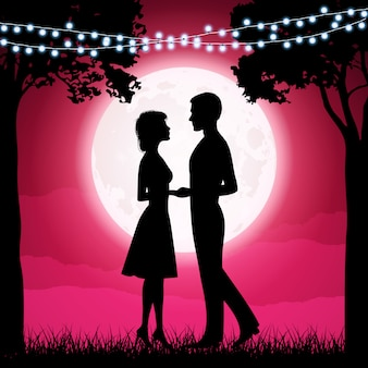 Silhouettes of young woman and man on the moon background