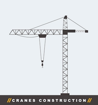 Silhouettte construction crane tower background vector illustration
