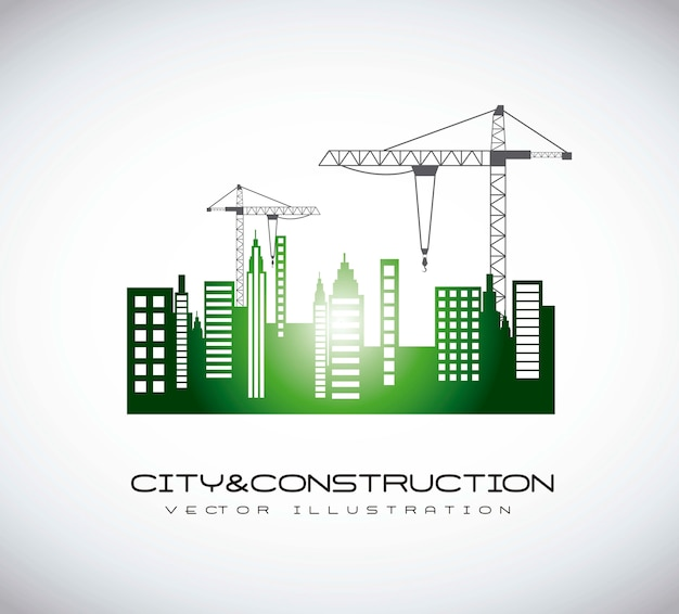 Silhouettte construction crane with buildigns vector illustration