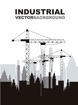Silhouettte construction crane with buildings vector illustration