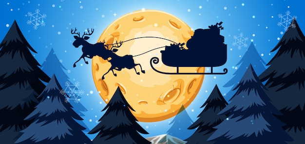 Silhoutte of sleigh night scene