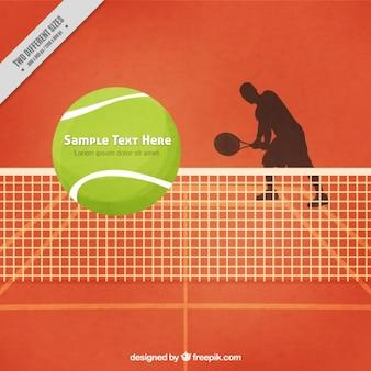 テニス選手のsilhoutteとテニスコートの背景