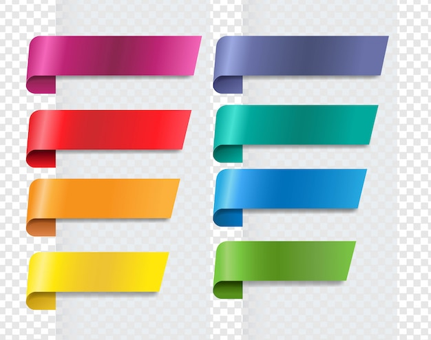 Silk colorful ribbons set transparent background