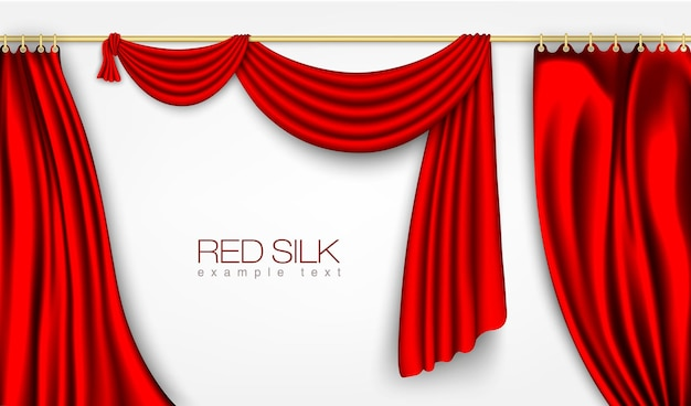 Silk curtains red color isolated
