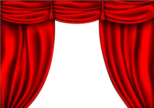白い背景で隔離のシルクカーテン赤い色