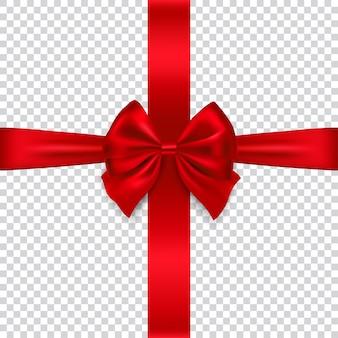 透明な背景、イラストで隔離の絹の赤い弓とリボン