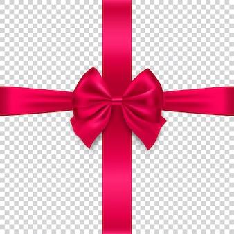 透明な背景に分離された絹の赤い弓とリボン