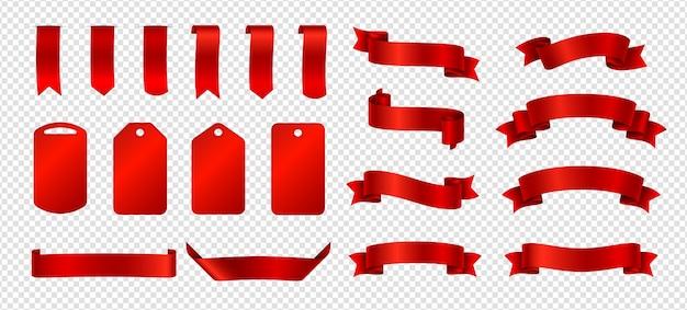 シルクリボン。赤いリボンとラベルのコレクション