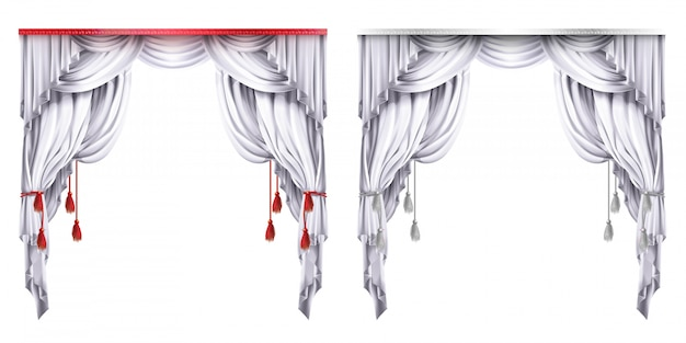 Silk, velvet drapes with red or white tassels. theatrical curtain with folds.