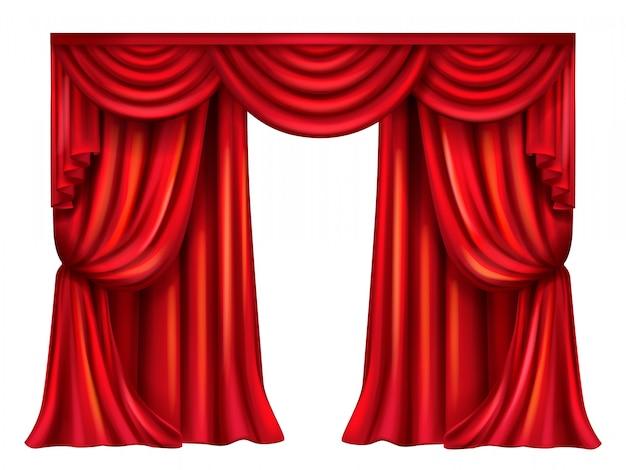 실크, 벨벳 흰색 배경에 고립 된 주름과 연극 커튼.