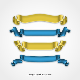 Silky ribbons in yellown and blue colors