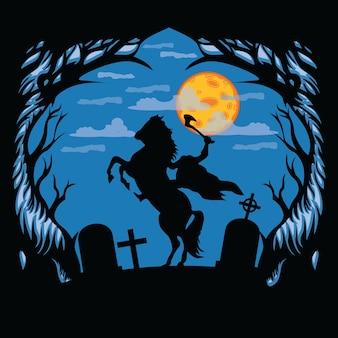 Siluete headless horsman on graveyard