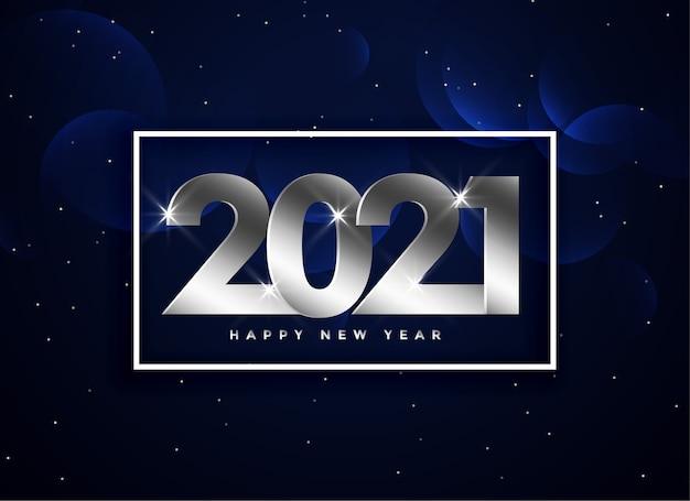 Silver 2021 hapy new year text on dark blue background