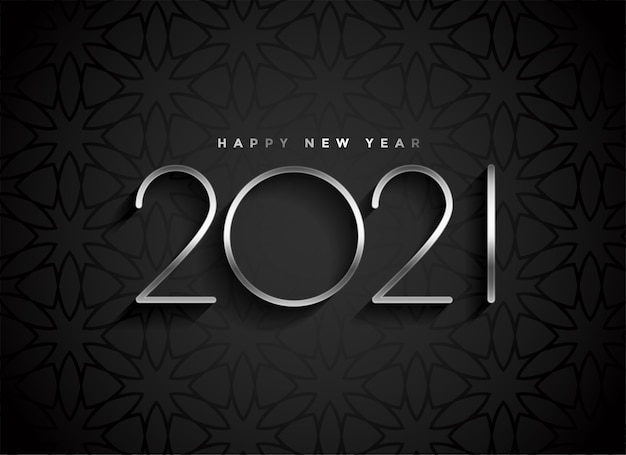 Silver 2021 new year text on black background