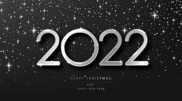 실버 2022 크리스마스와 새해 복 많이 받으세요. 은색 금속 번호 2022 및 축제 반짝이 검은 빛나는 배경 휴일 벡터 일러스트 레이 션