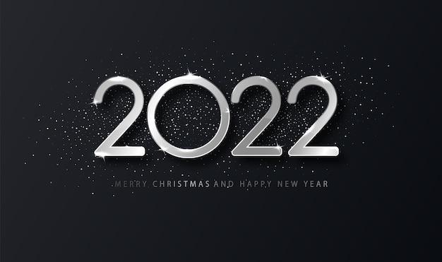 실버 2022 해피 뉴 이어 엘레간 배경입니다. 디자인 카드, 배너에 대 한 holyday 템플릿입니다.
