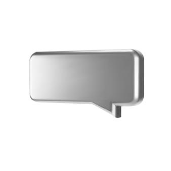 실버 3d 거품 이야기 흰색 배경에 고립입니다. 광택 크롬 금속 연설 거품, 대화, 메신저 모양. 3d는 소셜 미디어 또는 웹 사이트에 대한 벡터 반짝이 아이콘을 렌더링합니다.