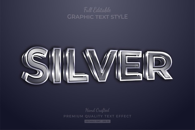 Silver 3d editable text effect font style
