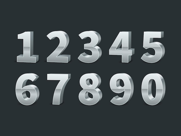 Silver 3d numbers on black background