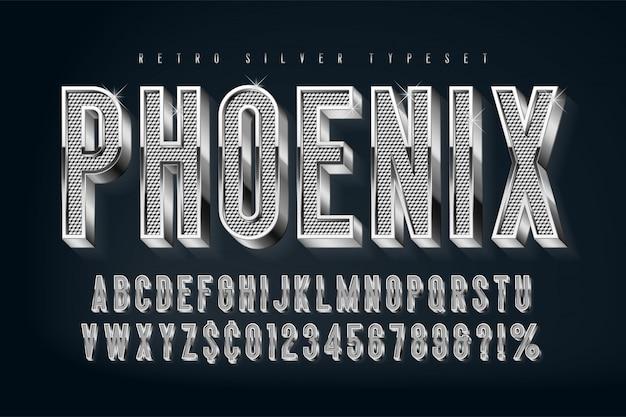 Серебряный 3d сияющий шрифт, золотые буквы и цифры