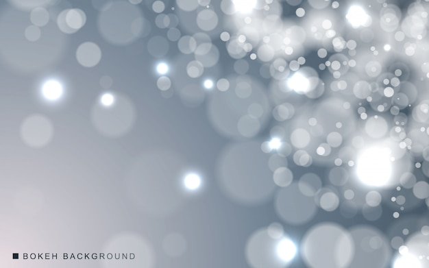 Silver abstract bokeh background sparkling lights