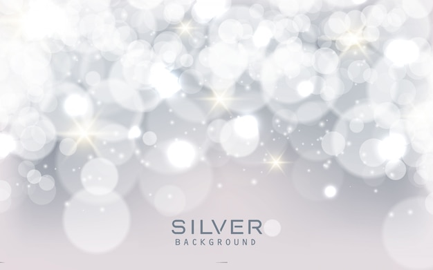 Silver abstract sparkling lights background