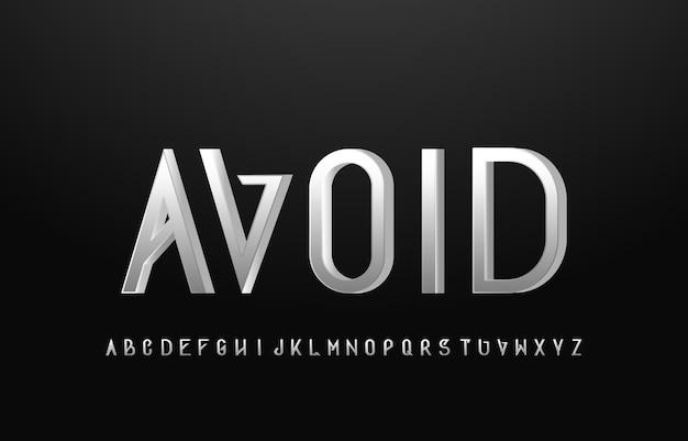 실버 알파벳 문자 산세 리프 글꼴