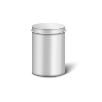 실린더 모양과 둥근 뚜껑이있는 은색 알루미늄 금속 상자