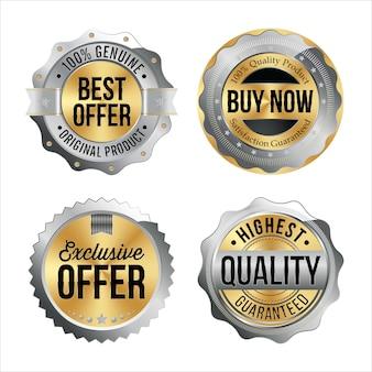 Серебряный и золотой значки. набор из четырех. лучшее предложение, купить сейчас, эксклюзивное предложение, высочайшее качество. Premium векторы