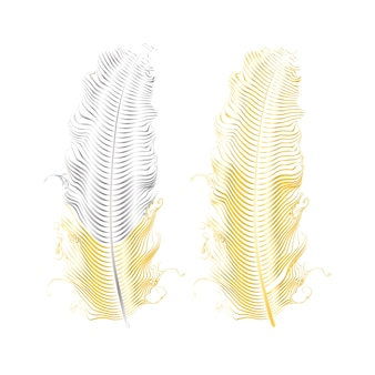 シルバーとゴールドのキラキラフェザー。自由奔放に生きるスタイルの要素、タトゥーテンプレート。