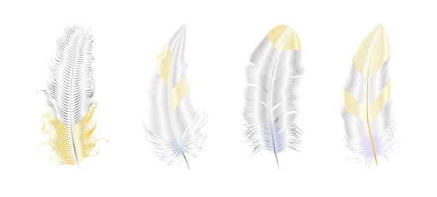 Серебряный и золотой блеск перьев. элементы стиля бохо, шаблон татуировки.