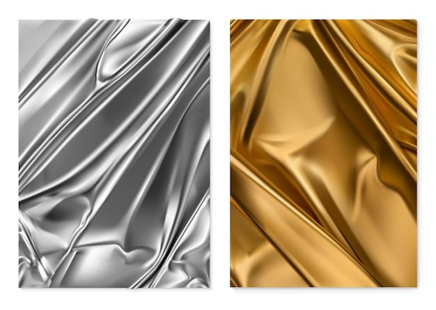 シルバーとゴールドの質感。箔、布。 3dリアルな背景