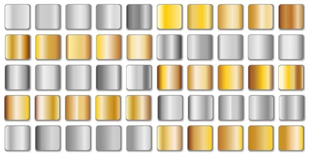 白で隔離の銀と金色のグラデーションセット